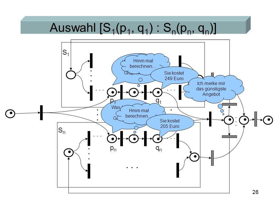 26 Auswahl [S 1 (p 1, q 1 ) : S n (p n, q n )]... S1S1 SnSn Was kostet eine ATI Graphikkarte.