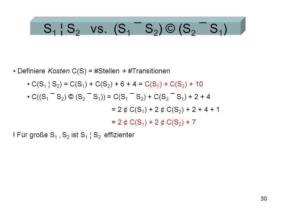 30 S 1 ¦ S 2 vs.