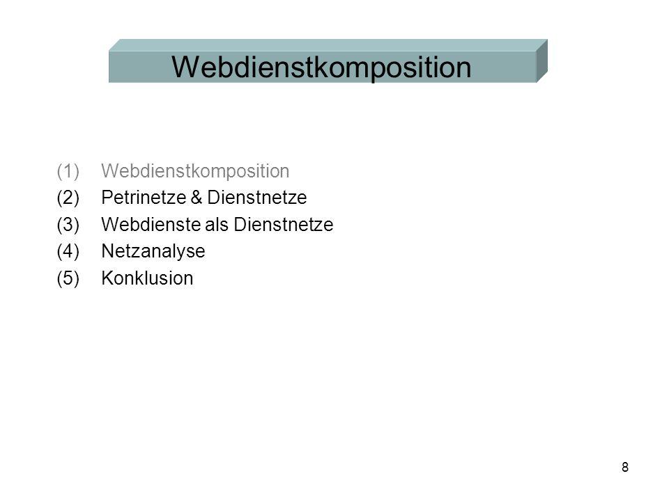 8 (1)Webdienstkomposition (2)Petrinetze & Dienstnetze (3)Webdienste als Dienstnetze (4)Netzanalyse (5)Konklusion Webdienstkomposition