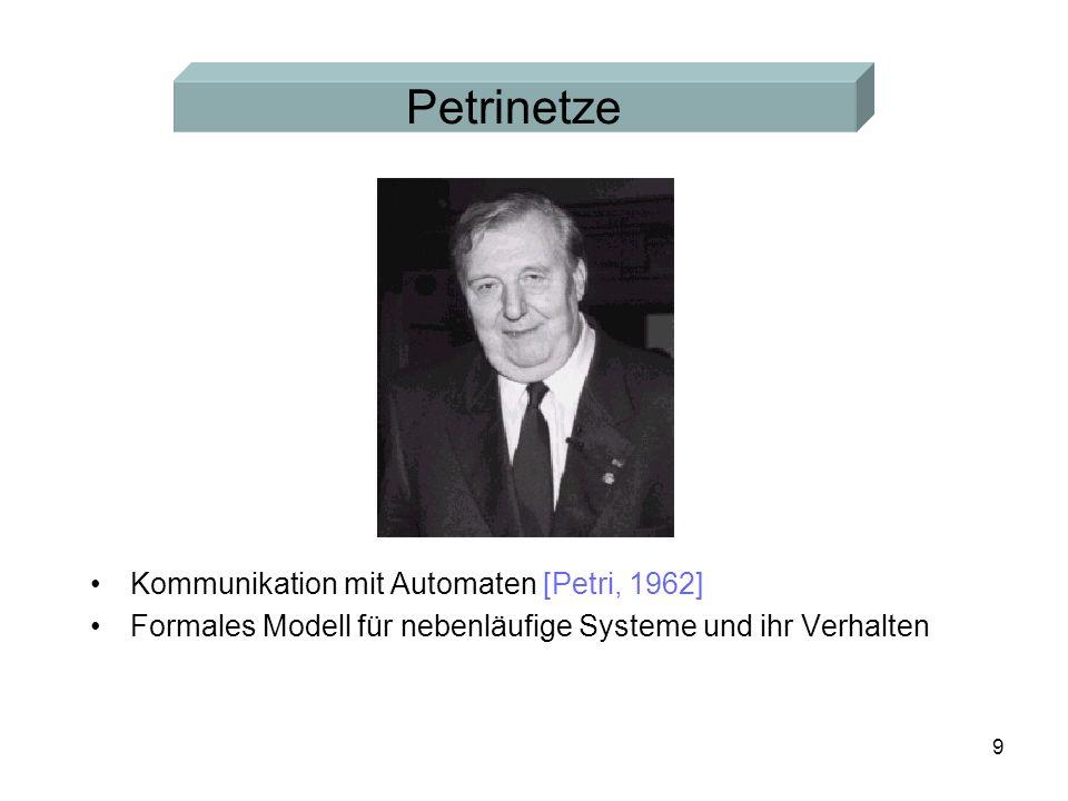 9 Kommunikation mit Automaten [Petri, 1962] Formales Modell für nebenläufige Systeme und ihr Verhalten Petrinetze