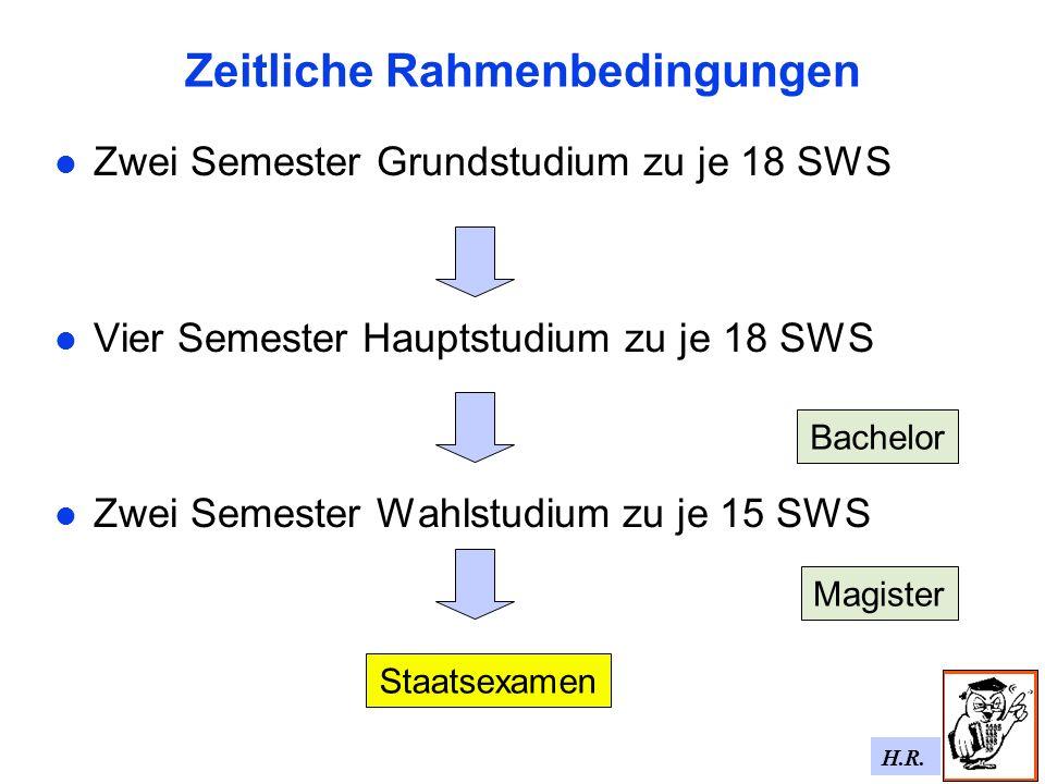 H.R. Zeitliche Rahmenbedingungen Zwei Semester Grundstudium zu je 18 SWS Vier Semester Hauptstudium zu je 18 SWS Zwei Semester Wahlstudium zu je 15 SW