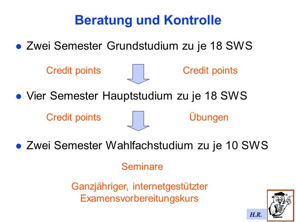 H.R. Beratung und Kontrolle Zwei Semester Grundstudium zu je 18 SWS Vier Semester Hauptstudium zu je 18 SWS Zwei Semester Wahlfachstudium zu je 10 SWS