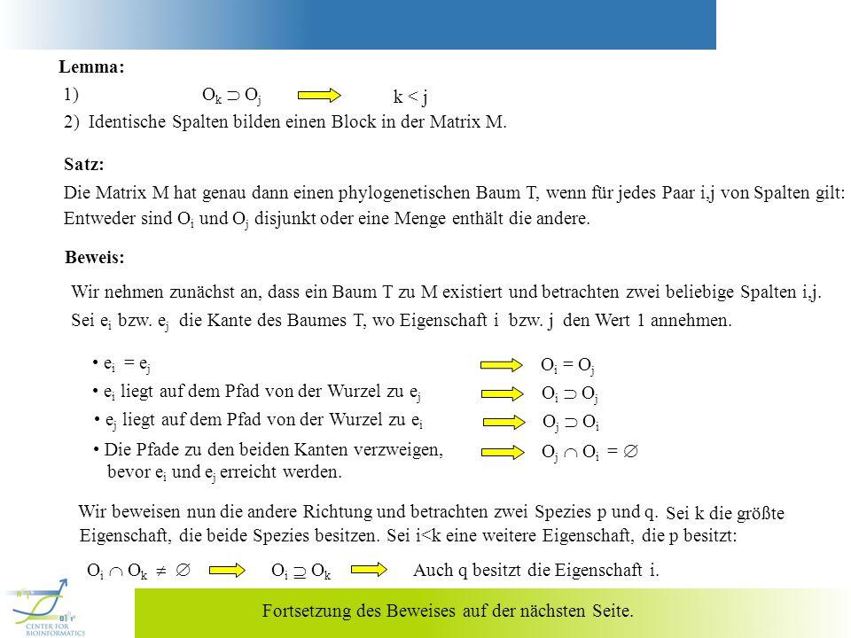 k < j Lemma: 1) O k O j 2) Identische Spalten bilden einen Block in der Matrix M. Satz: Die Matrix M hat genau dann einen phylogenetischen Baum T, wen