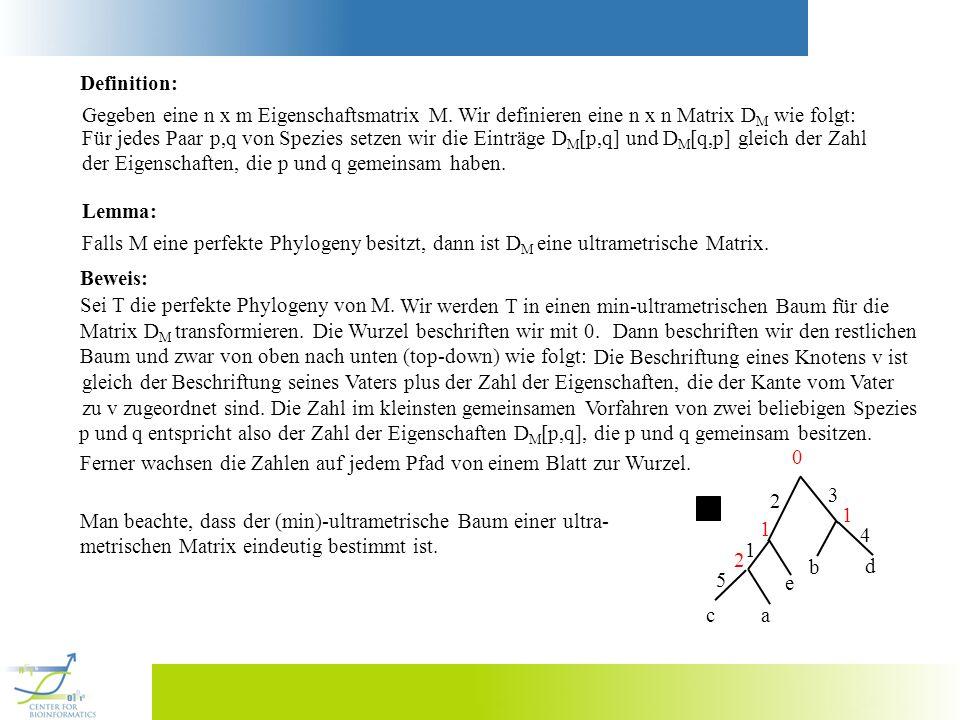 Definition: Gegeben eine n x m Eigenschaftsmatrix M. Wir definieren eine n x n Matrix D M wie folgt: Für jedes Paar p,q von Spezies setzen wir die Ein