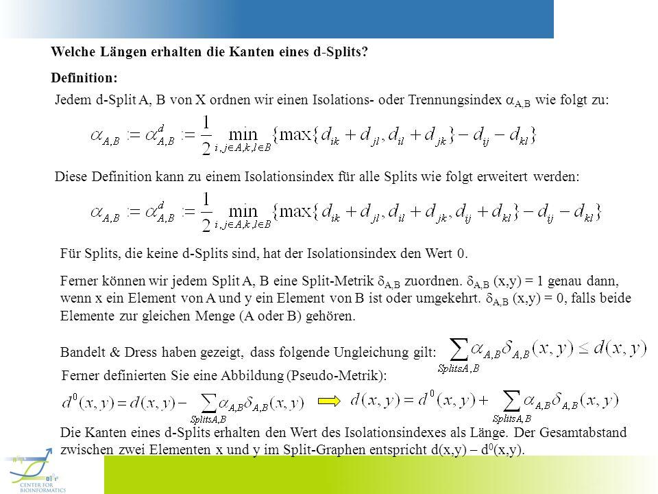 Welche Längen erhalten die Kanten eines d-Splits? Definition: Jedem d-Split A, B von X ordnen wir einen Isolations- oder Trennungsindex A,B wie folgt