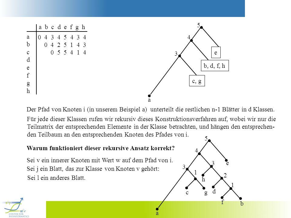 a b c d e f g h abcdefghabcdefgh 0 4 3 4 5 4 3 4 0 4 2 5 1 4 3 0 5 5 4 1 4 a 3 4 5 c, gb, d, f, he Der Pfad von Knoten i (in unserem Beispiel a) unter