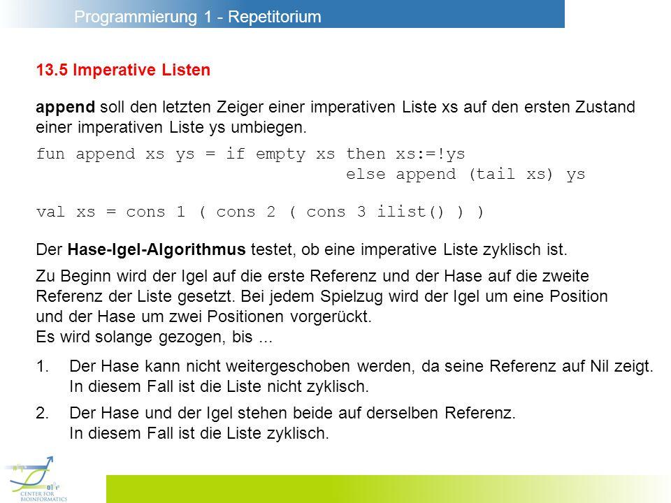 Programmierung 1 - Repetitorium 13.5 Imperative Listen append soll den letzten Zeiger einer imperativen Liste xs auf den ersten Zustand einer imperativen Liste ys umbiegen.