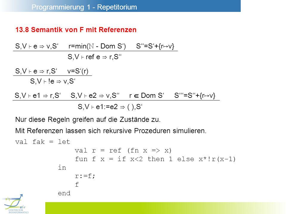 Programmierung 1 - Repetitorium 13.8 Semantik von F mit Referenzen Nur diese Regeln greifen auf die Zustände zu. Mit Referenzen lassen sich rekursive