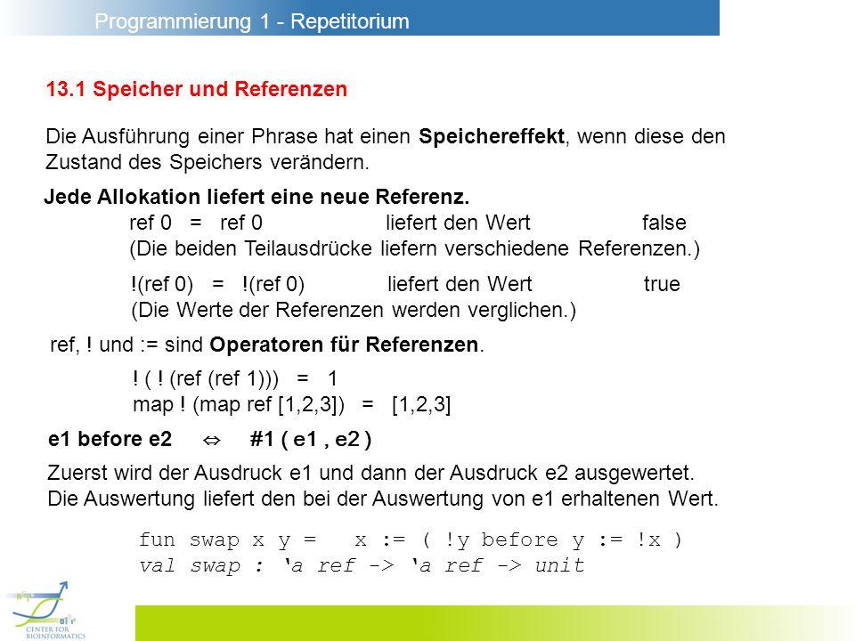 Programmierung 1 - Repetitorium 13.1 Speicher und Referenzen Die Ausführung einer Phrase hat einen Speichereffekt, wenn diese den Zustand des Speichers verändern.