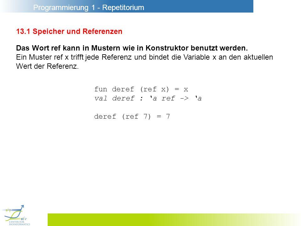 Programmierung 1 - Repetitorium 13.2 Prozeduren mit Zustand counter : unit -> int val r = ref 0 fun counter () = (r:=!r+1; !r) counter soll mitzählen, wie oft sie aufgerufen wurde und bei ihrem n-ten Aufruf die Zahl n liefern.