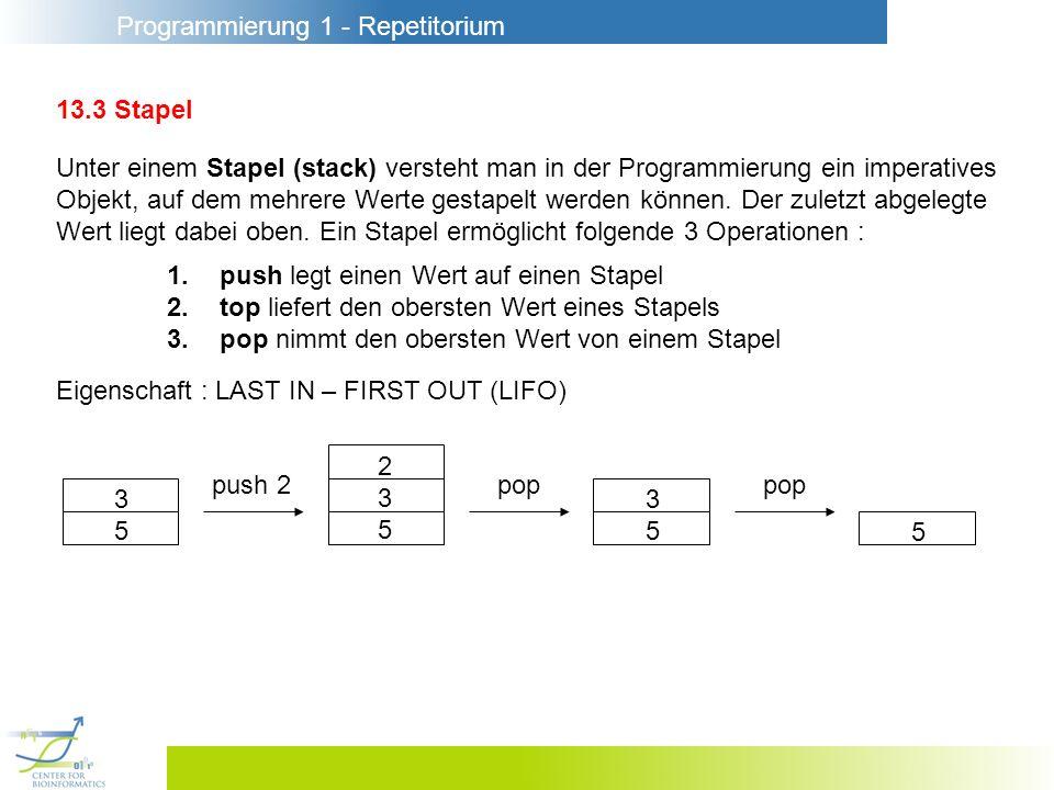 Programmierung 1 - Repetitorium 13.6 Schleifen Semantik : while e1 do e2 = if e1 then while e1 do e2 else ( ) while e1 do e2 = let fun loop () = if e1 then (e2; loop()) else () in loop () end; Beispiel : Länge von Listen fun length xs = let val xr = ref xs val n = ref 0 in while not(null(!xr)) do (xr:=tl(!xr);n:=!n+1); !n end
