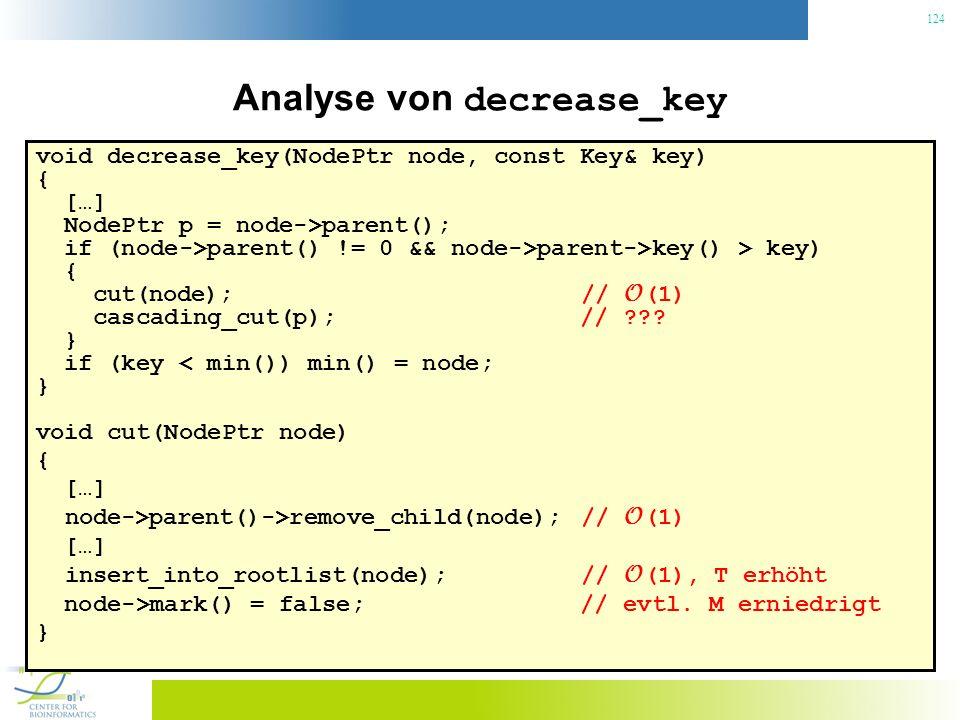 124 Analyse von decrease_key void decrease_key(NodePtr node, const Key& key) { […] NodePtr p = node->parent(); if (node->parent() != 0 && node->parent->key() > key) { cut(node); // O (1) cascading_cut(p); // ??.