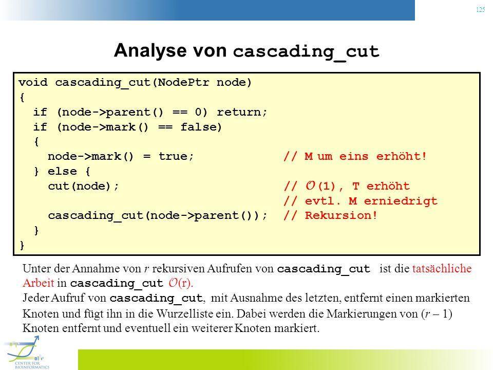 125 Analyse von cascading_cut void cascading_cut(NodePtr node) { if (node->parent() == 0) return; if (node->mark() == false) { node->mark() = true; // M um eins erhöht.