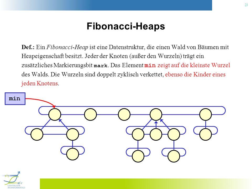 23 Fibonacci-Heaps Def.: Ein Fibonacci-Heap ist eine Datenstruktur, die einen Wald von Bäumen mit Heapeigenschaft besitzt. Jeder der Knoten (außer den