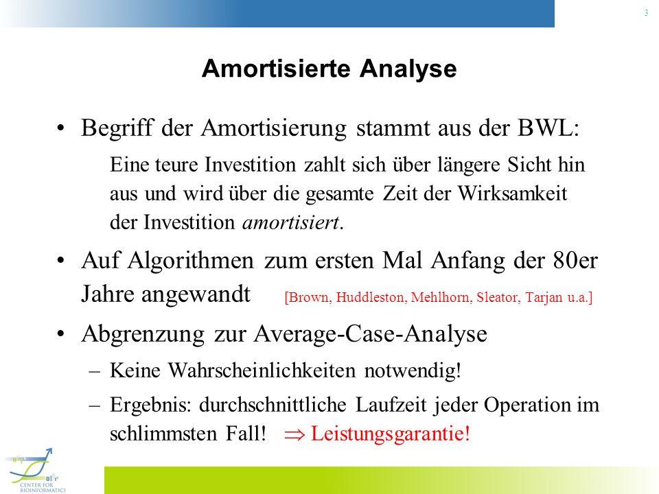 3 Amortisierte Analyse Begriff der Amortisierung stammt aus der BWL: Eine teure Investition zahlt sich über längere Sicht hin aus und wird über die ge