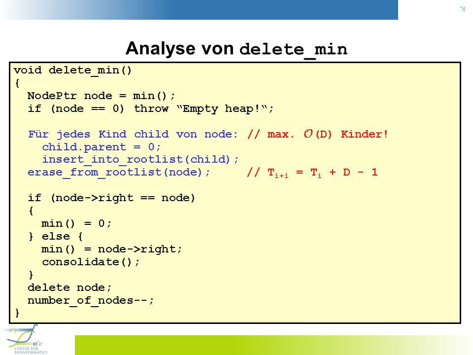 76 Analyse von delete_min void delete_min() { NodePtr node = min(); if (node == 0) throw Empty heap!; Für jedes Kind child von node: // max. O (D) Kin