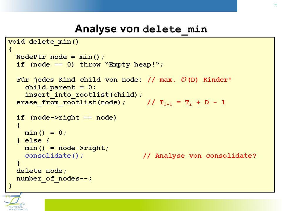 77 Analyse von delete_min void delete_min() { NodePtr node = min(); if (node == 0) throw Empty heap!; Für jedes Kind child von node: // max. O (D) Kin
