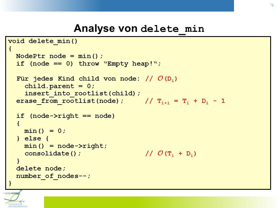 79 Analyse von delete_min void delete_min() { NodePtr node = min(); if (node == 0) throw Empty heap!; Für jedes Kind child von node: // O (D i ) child.parent = 0; insert_into_rootlist(child); erase_from_rootlist(node); // T i+i = T i + D i - 1 if (node->right == node) { min() = 0; } else { min() = node->right; consolidate(); // O (T i + D i ) } delete node; number_of_nodes--; }