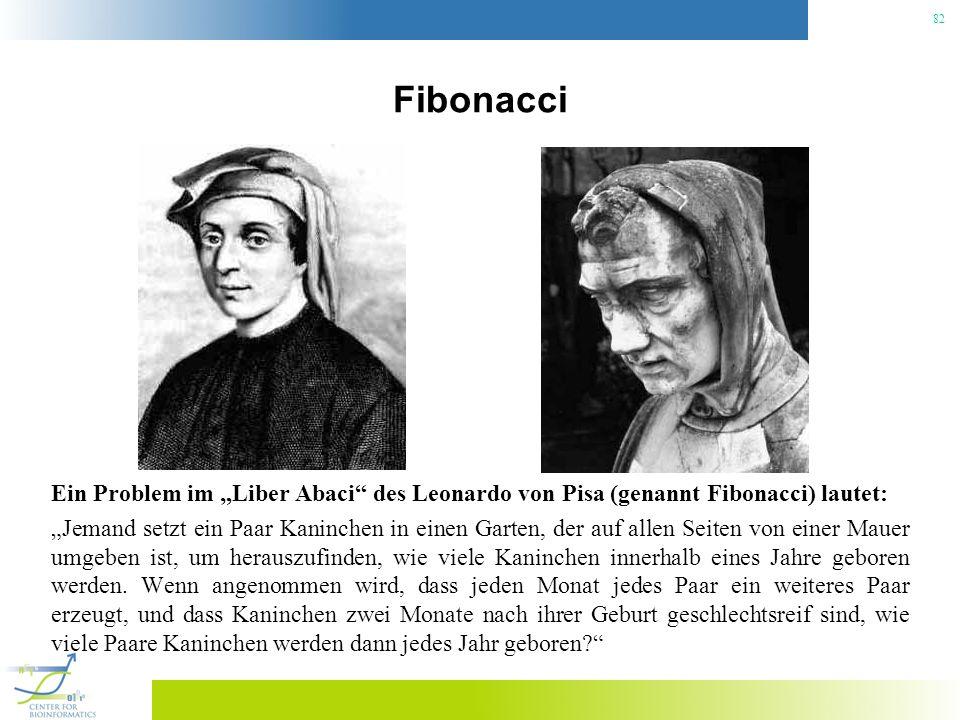 82 Fibonacci Ein Problem im Liber Abaci des Leonardo von Pisa (genannt Fibonacci) lautet: Jemand setzt ein Paar Kaninchen in einen Garten, der auf all