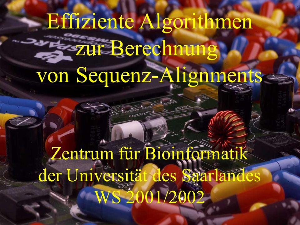 Der Bauplan des Menschen Effiziente Algorithmen zur Berechnung von Sequenz-Alignments Zentrum für Bioinformatik der Universität des Saarlandes WS 2001