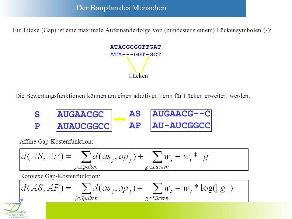Der Bauplan des Menschen Ein Lücke (Gap) ist eine maximale Aufeinanderfolge von (mindestens einem) Lückensymbolen (-): ATACGCGGTTGAT ATA---GGT-GCT Lüc