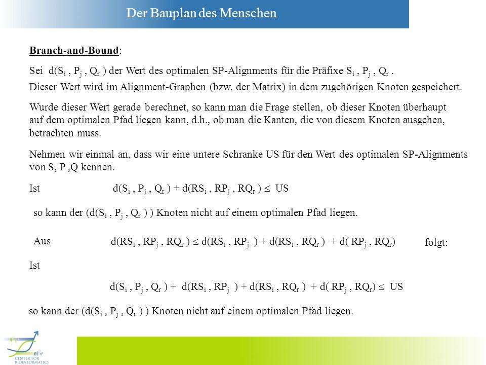 Der Bauplan des Menschen Sei d(S i, P j, Q r ) der Wert des optimalen SP-Alignments für die Präfixe S i, P j, Q r. d(S i, P j, Q r ) + d(RS i, RP j, R