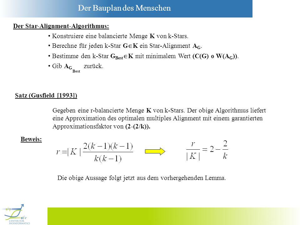 Der Bauplan des Menschen Der Star-Alignment-Algorithmus: Konstruiere eine balancierte Menge K von k-Stars. Berechne für jeden k-Star G K ein Star-Alig