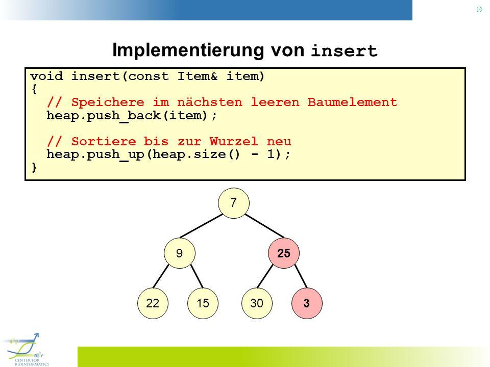 10 Implementierung von insert void insert(const Item& item) { // Speichere im nächsten leeren Baumelement heap.push_back(item); // Sortiere bis zur Wu