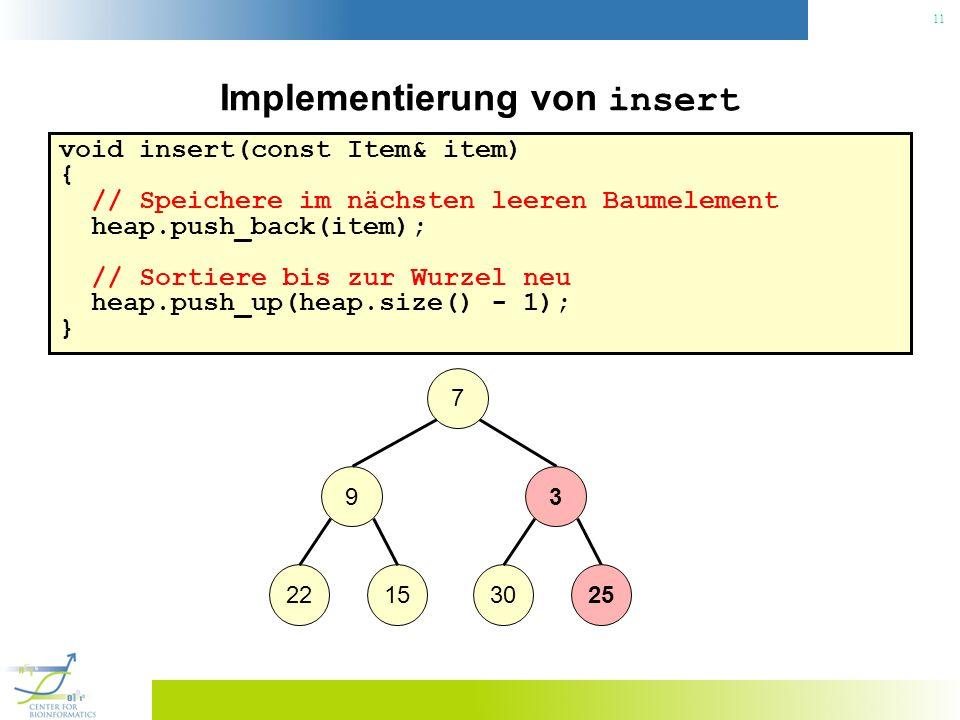 11 Implementierung von insert void insert(const Item& item) { // Speichere im nächsten leeren Baumelement heap.push_back(item); // Sortiere bis zur Wu