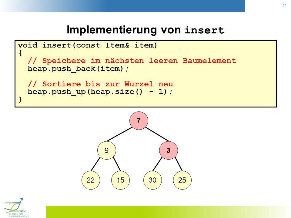 12 Implementierung von insert void insert(const Item& item) { // Speichere im nächsten leeren Baumelement heap.push_back(item); // Sortiere bis zur Wu