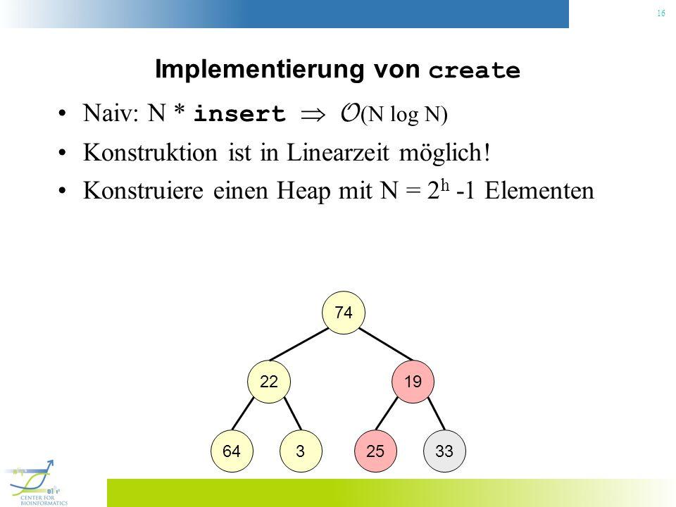 16 Implementierung von create Naiv: N * insert O (N log N) Konstruktion ist in Linearzeit möglich! Konstruiere einen Heap mit N = 2 h -1 Elementen 74