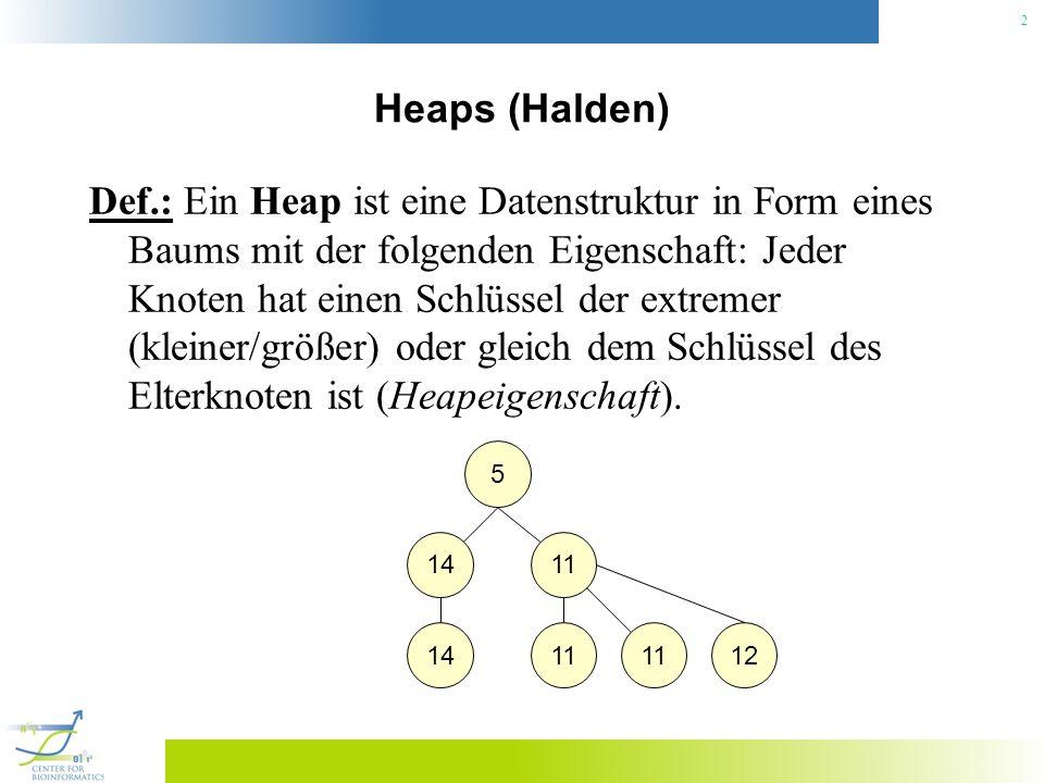 2 Heaps (Halden) Def.: Ein Heap ist eine Datenstruktur in Form eines Baums mit der folgenden Eigenschaft: Jeder Knoten hat einen Schlüssel der extreme