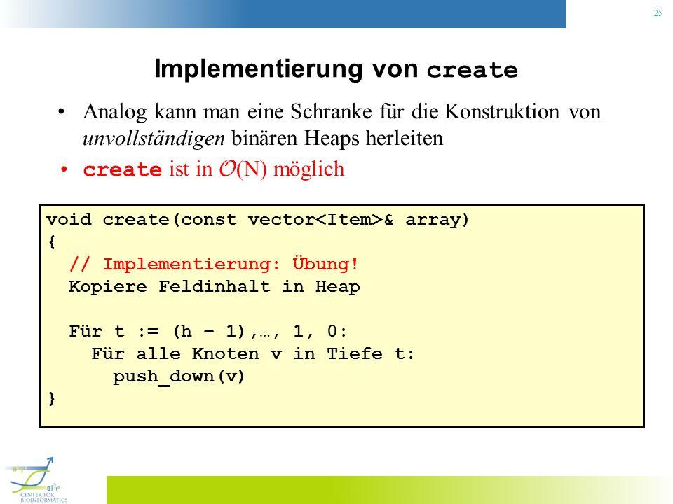 25 Implementierung von create Analog kann man eine Schranke für die Konstruktion von unvollständigen binären Heaps herleiten create ist in O (N) mögli