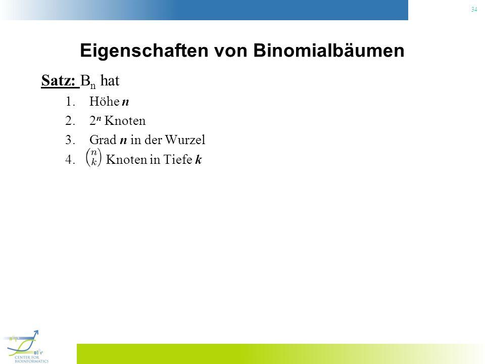 34 Eigenschaften von Binomialbäumen Satz: B n hat 1.Höhe n 2.2 n Knoten 3.Grad n in der Wurzel 4. Knoten in Tiefe k