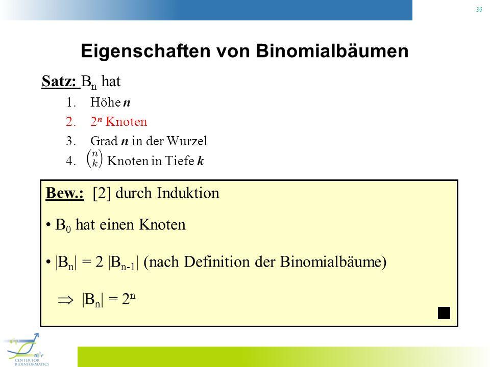 36 Eigenschaften von Binomialbäumen Satz: B n hat 1.Höhe n 2.2 n Knoten 3.Grad n in der Wurzel 4. Knoten in Tiefe k Bew.: [2] durch Induktion B 0 hat