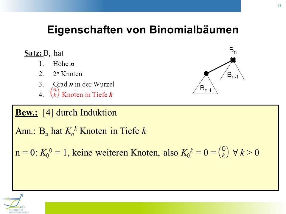 38 Eigenschaften von Binomialbäumen Satz: B n hat 1.Höhe n 2.2 n Knoten 3.Grad n in der Wurzel 4. Knoten in Tiefe k BnBn B n-1 Bew.: [4] durch Indukti