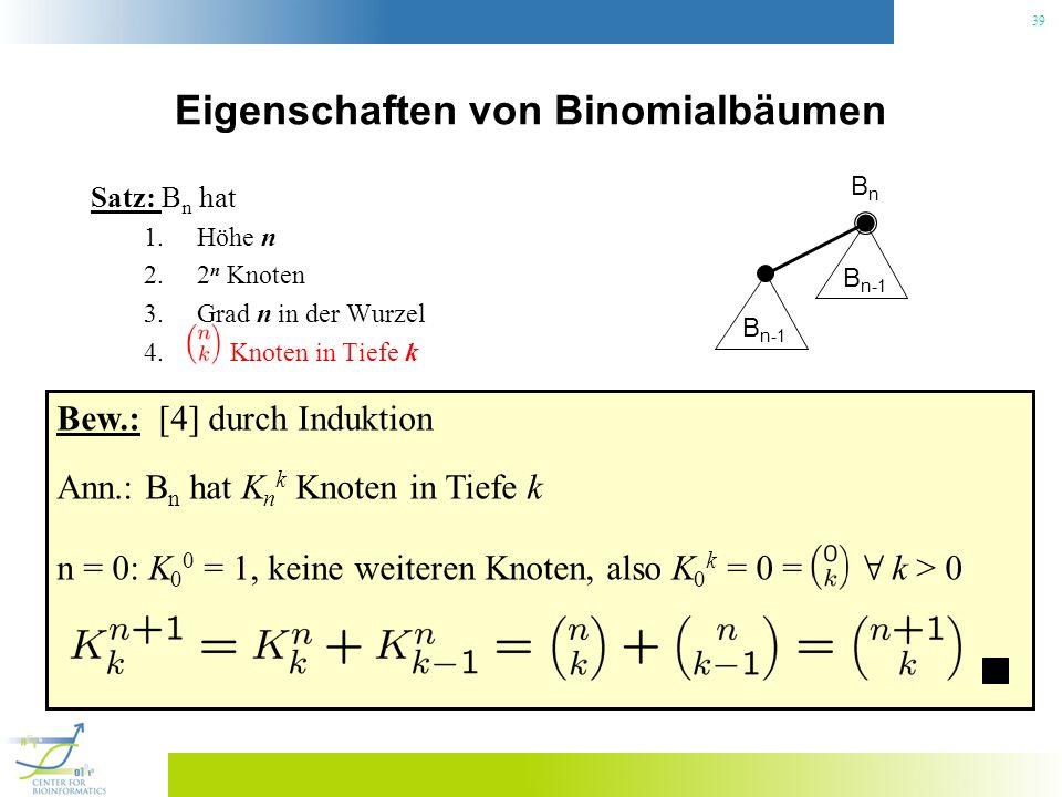 39 Eigenschaften von Binomialbäumen Satz: B n hat 1.Höhe n 2.2 n Knoten 3.Grad n in der Wurzel 4. Knoten in Tiefe k BnBn B n-1 Bew.: [4] durch Indukti