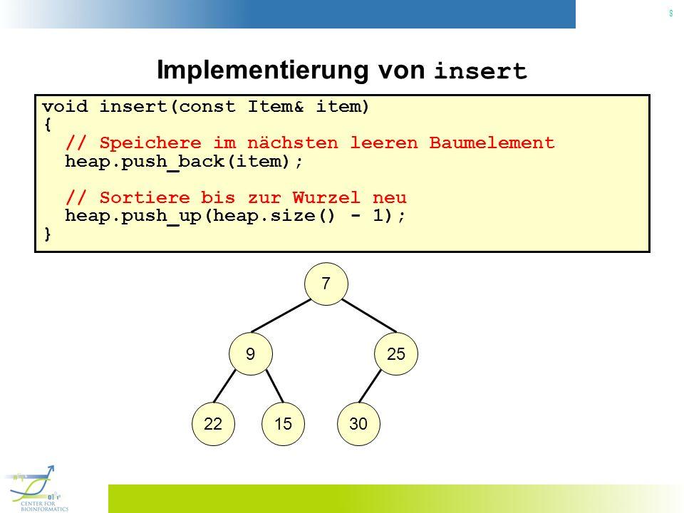 9 Implementierung von insert void insert(const Item& item) { // Speichere im nächsten leeren Baumelement heap.push_back(item); // Sortiere bis zur Wurzel neu heap.push_up(heap.size() - 1); } 7 925 2215303