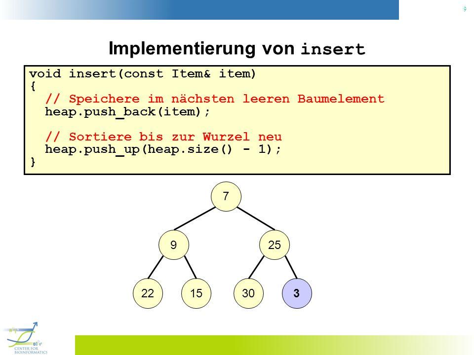 9 Implementierung von insert void insert(const Item& item) { // Speichere im nächsten leeren Baumelement heap.push_back(item); // Sortiere bis zur Wur