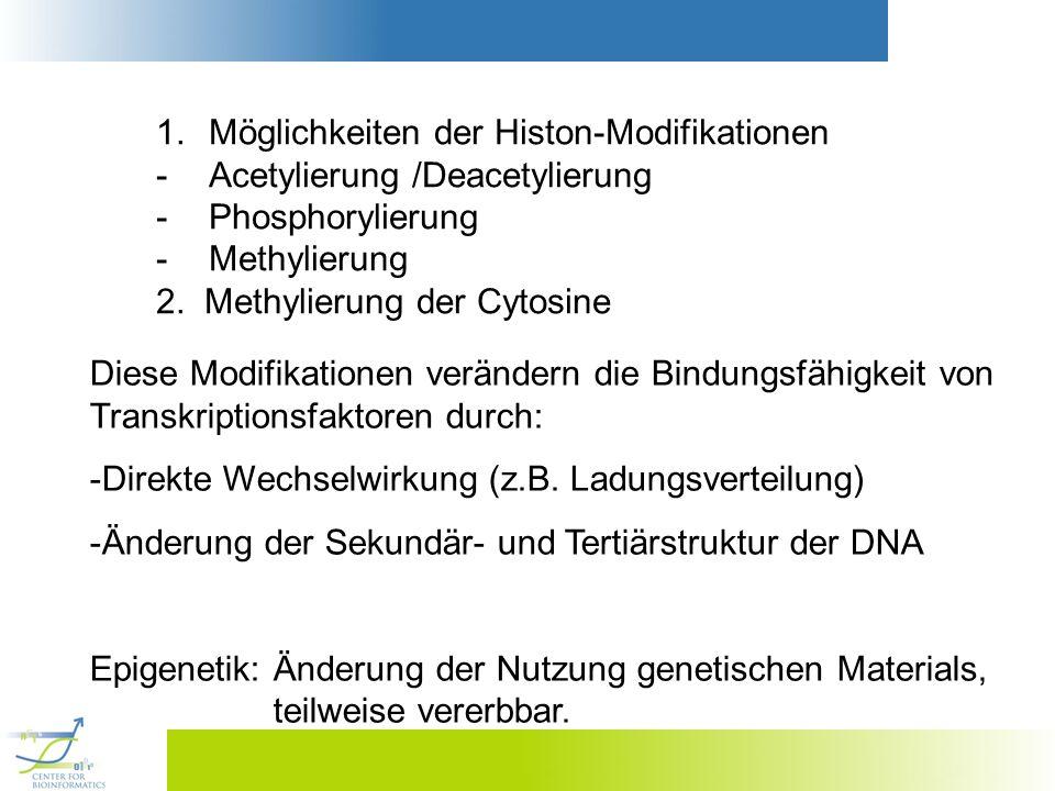 1.Möglichkeiten der Histon-Modifikationen -Acetylierung /Deacetylierung -Phosphorylierung -Methylierung 2. Methylierung der Cytosine Diese Modifikatio