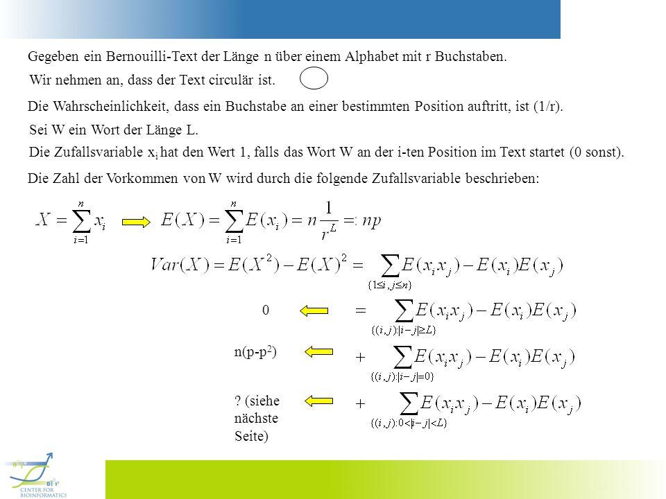 Gegeben ein Bernouilli-Text der Länge n über einem Alphabet mit r Buchstaben. Wir nehmen an, dass der Text circulär ist. Die Wahrscheinlichkeit, dass