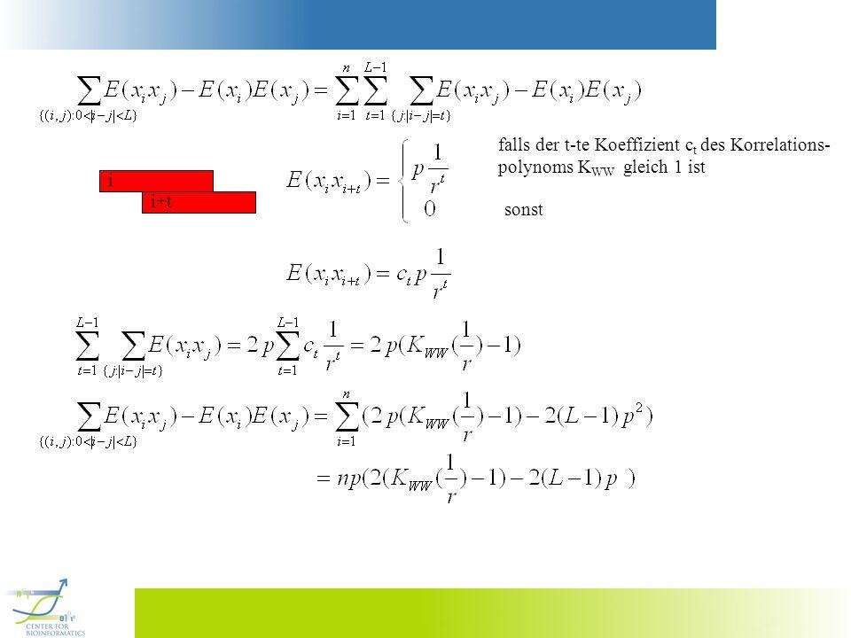 i i+t falls der t-te Koeffizient c t des Korrelations- polynoms K WW gleich 1 ist sonst