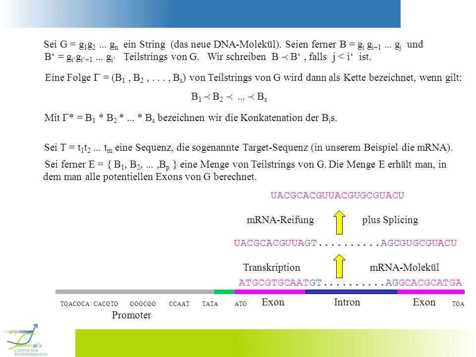 Sei ferner E = { B 1, B 2,...,B p } eine Menge von Teilstrings von G. Die Menge E erhält man, in dem man alle potentiellen Exons von G berechnet. ATGC