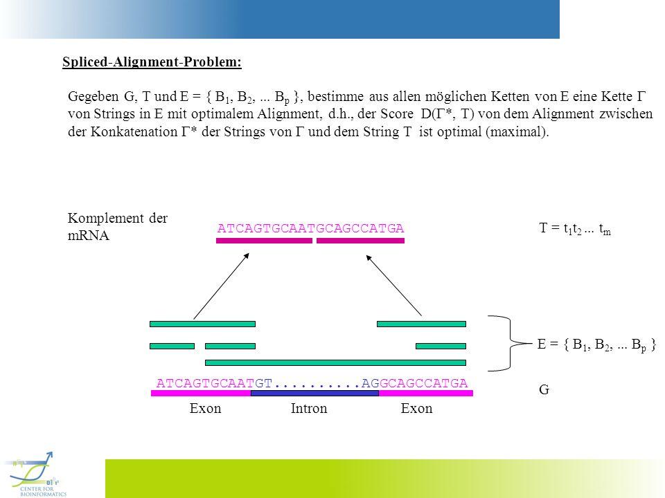Spliced-Alignment-Problem: Gegeben G, T und E = { B 1, B 2,... B p }, bestimme aus allen möglichen Ketten von E eine Kette von Strings in E mit optima