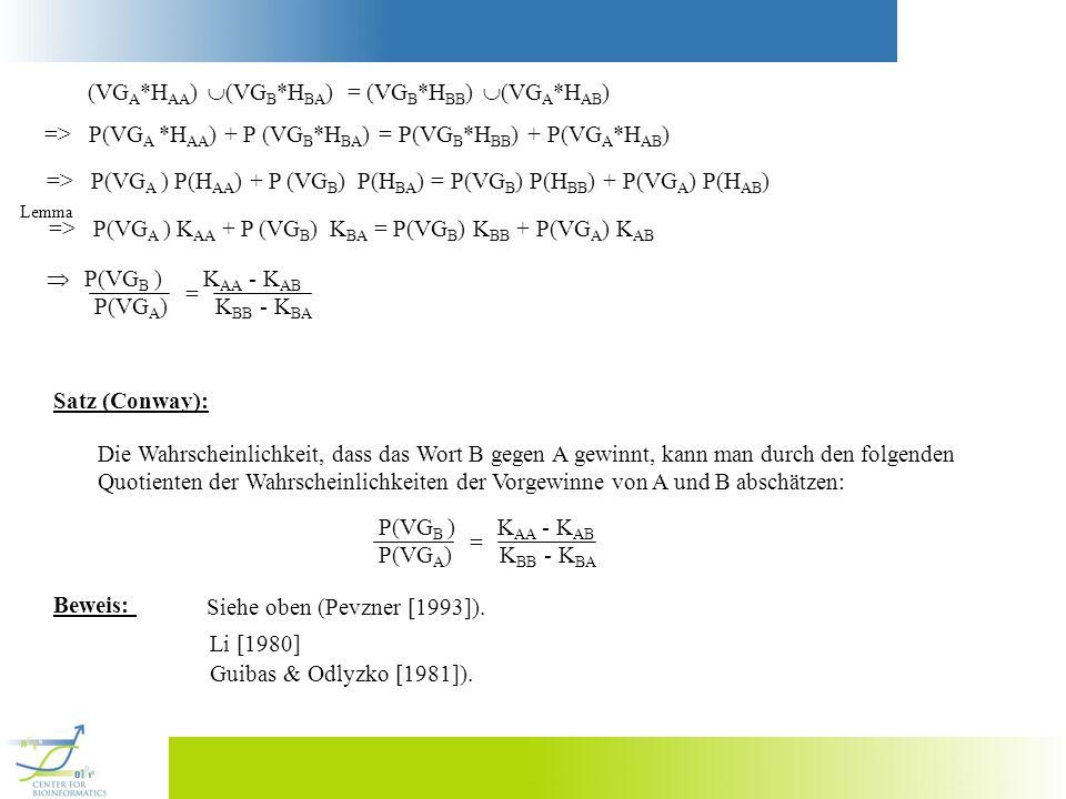 = (VG B *H BB ) (VG A *H AB ) (VG A *H AA ) (VG B *H BA ) => P(VG A *H AA ) + P (VG B *H BA ) = P(VG B *H BB ) + P(VG A *H AB ) => P(VG A ) P(H AA ) +