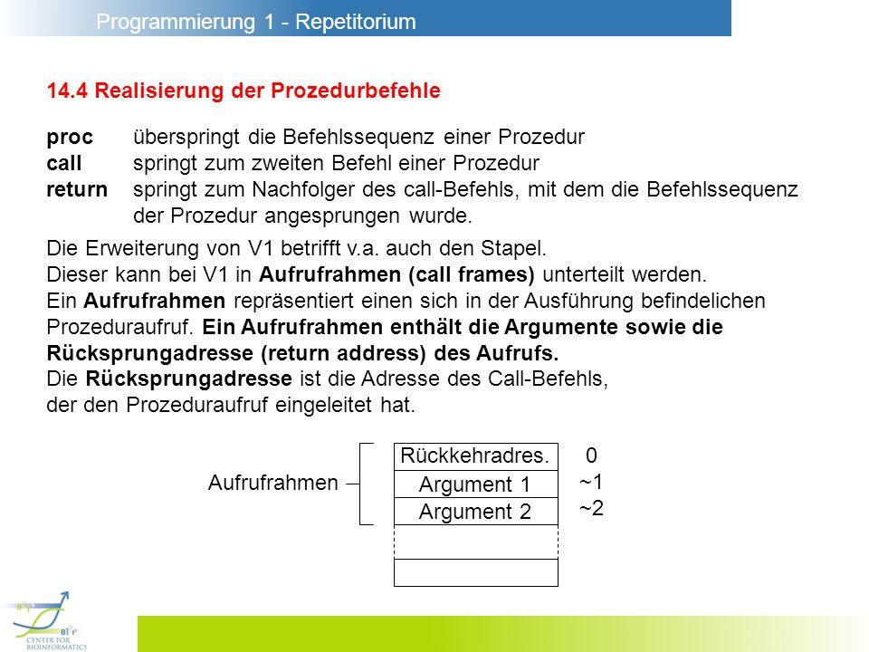 Programmierung 1 - Repetitorium 14.4 Realisierung der Prozedurbefehle proc überspringt die Befehlssequenz einer Prozedur call springt zum zweiten Befehl einer Prozedur return springt zum Nachfolger des call-Befehls, mit dem die Befehlssequenz der Prozedur angesprungen wurde.