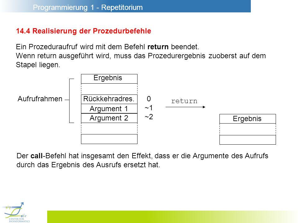 Programmierung 1 - Repetitorium 14.4 Realisierung der Prozedurbefehle Ein Prozeduraufruf wird mit dem Befehl return beendet.