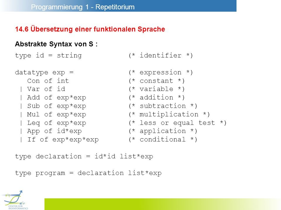 Programmierung 1 - Repetitorium 14.6 Übersetzung einer funktionalen Sprache Abstrakte Syntax von S : type id = string(* identifier *) datatype exp =(* expression *) Con of int(* constant *) | Var of id(* variable *) | Add of exp*exp(* addition *) | Sub of exp*exp(* subtraction *) | Mul of exp*exp(* multiplication *) | Leq of exp*exp(* less or equal test *) | App of id*exp(* application *) | If of exp*exp*exp(* conditional *) type declaration = id*id list*exp type program = declaration list*exp