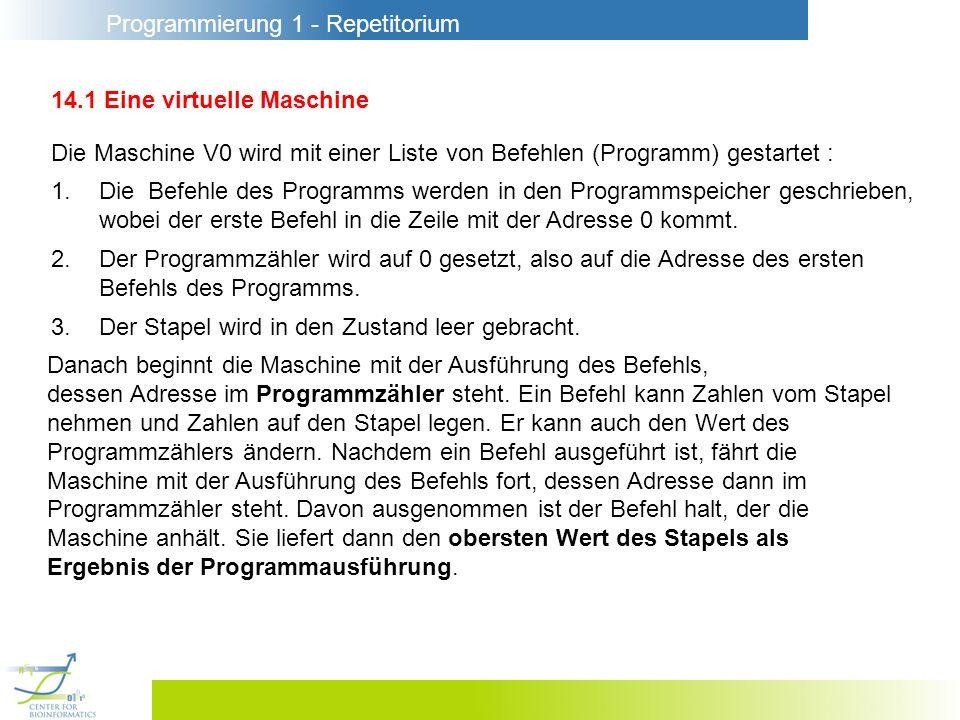 Programmierung 1 - Repetitorium 14.4 Realisierung der Prozedurbefehle Die Realisierung des Stapels wird erweitert um die Verwaltung der Aufrufsrahmen.