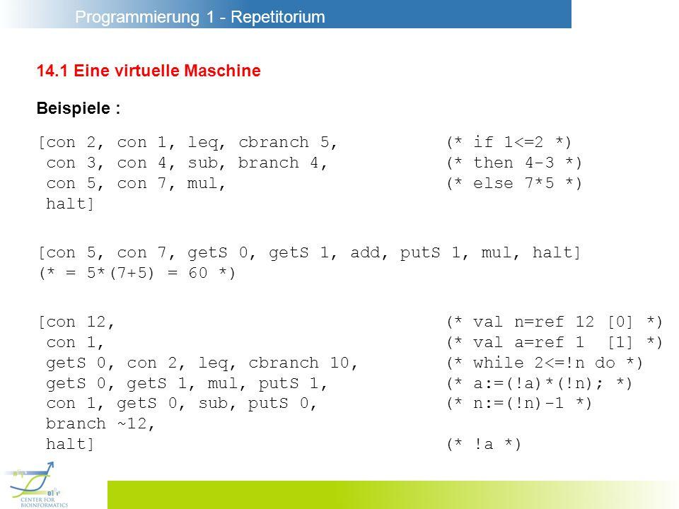 Programmierung 1 - Repetitorium 14.1 Eine virtuelle Maschine Beispiele : [con 2, con 1, leq, cbranch 5,(* if 1<=2 *) con 3, con 4, sub, branch 4,(* then 4-3 *) con 5, con 7, mul,(* else 7*5 *) halt] [con 5, con 7, getS 0, getS 1, add, putS 1, mul, halt] (* = 5*(7+5) = 60 *) [con 12,(* val n=ref 12 [0] *) con 1,(* val a=ref 1 [1] *) getS 0, con 2, leq, cbranch 10,(* while 2<=!n do *) getS 0, getS 1, mul, putS 1,(* a:=(!a)*(!n); *) con 1, getS 0, sub, putS 0,(* n:=(!n)-1 *) branch ~12, halt](* !a *)